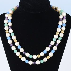 Multi-color Glass Beads and Pearl Necklace Vintage